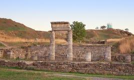 Columns in ancient Pantikapey. Kerch, Ukraine. Ancient abandoned columns and ruins of Pantikapey in Kerch, Crimea, Ukraine Stock Image