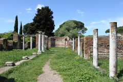 Columns of an ancient roman temple Stock Photos
