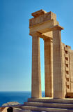 Columns ancient temple in the city of Lindos Royalty Free Stock Photography