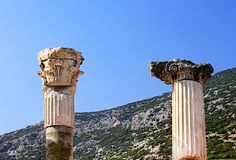 Columns of an ancient temple in Ephesus in Turkey royalty free stock images
