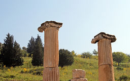 Columns of an ancient temple in Ephesus royalty free stock photography