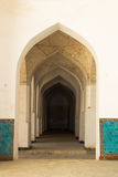 Columns arch corridor. Landmarks in Bukhara. Columns of ancient mosque. Landmarks in Bukhara, Uzbekistan, March 2016 Royalty Free Stock Images