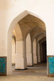 Columns arch corridor. Landmarks in Bukhara. Columns of ancient mosque. Landmarks in Bukhara, Uzbekistan, March 2016 Stock Images