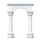 Columns and arch front view  on white background. 3d ren Stock Images