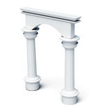 Columns and arch  on white background. 3d rendering Royalty Free Stock Photography