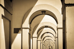 Columns. Architectural detail of arcade in Florence, Italy Stock Images