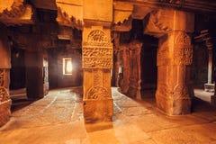 Columns of architecture landmark, Hindu temple in Pattadakal, India. UNESCO World Heritage, 7th and 8th-century. Royalty Free Stock Photography