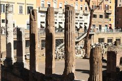 Columns on The Area Sacra dell`Argentina Stock Photos