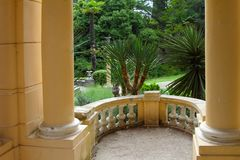 Columns and balustrade of a classic rotunda stock images