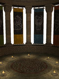 Columns with Banners and Candles Royalty Free Stock Image