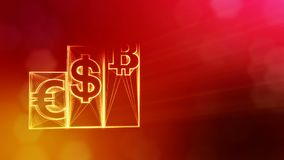 Columns with signs of bitcoin dollar and euro. Financial background made of glow particles as vitrtual hologram. Shiny. Columns with bitcoin dollar and euro. The stock footage