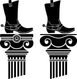 Columns and boots with spurs Stock Images