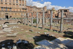 Columns and buildings of Trajan Forum in Rome, Italy Stock Photos