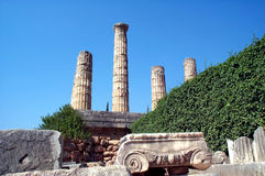 Columns and capital. Greek pillars at the Temple of Delphi. (Pytia Oracle royalty free stock images