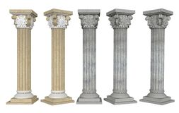 Columns with Capital from different angles on white background. 3D rendering. 3D illustration vector illustration