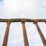 Columns on A cardo maximus road in Jerash town Royalty Free Stock Photos