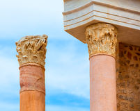 Columns in Cartagena Roman Amphitheater Spain Stock Photo