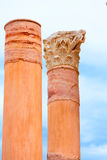 Columns in Cartagena Roman Amphitheater Spain Royalty Free Stock Photos