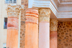 Columns in Cartagena Roman Amphitheater Spain Royalty Free Stock Photo