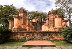 Columns of cham temple in Vietnam Stock Images