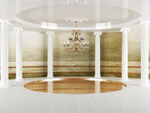 Columns and a chandelier in empty room Stock Photos