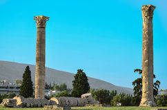 Columns classic. Classical columns in the Greece Stock Images