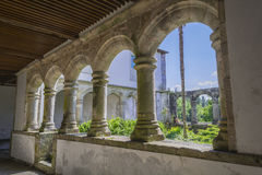 Columns of the cloister of a monastery, Santa María de Ferreira Stock Photography
