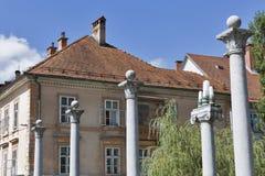 Columns of Cobbler Bridge in Ljubljana, Slovenia. Stock Photos