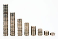 Columns from coins Stock Images