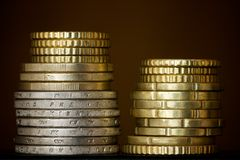 Columns of coins Royalty Free Stock Images