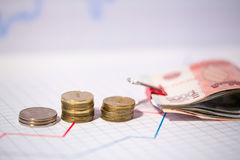 Columns of coins and bills. Royalty Free Stock Photography