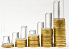 Columns from coins and the business diagramme Stock Photo