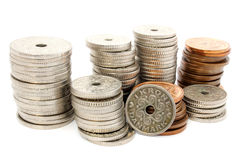 Columns of coins DKK. On a white background Stock Image