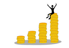 Columns of coins and happy businessman Stock Photography