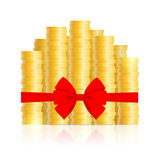 Columns of coins and red bow Stock Photography