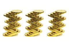 Columns from coins of yellow metal Stock Photography