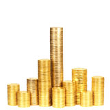 Columns of coins from yellow metal3 Royalty Free Stock Photos