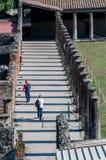 Columns and corridor at palestra dei gladiatori in Pompeii Italy Royalty Free Stock Photo