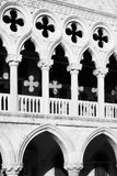 Doges Palace in Venice. Columns with crosses of Palazzo Ducale Doges Palace in Venice, Italy. Black and white image royalty free stock photo