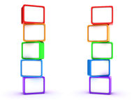 Columns of cubes. Two columns of multicolored cubes Royalty Free Stock Images