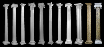 Columns, decoration item made of white plaster. Columns decoration item made of white plaster. relief stucco interior. capitals collage royalty free stock photos