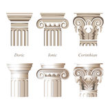 Columns in different styles. Stylized and realistic columns in different styles - ionic, doric, corinthian - for your architectural designs Royalty Free Stock Image