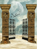 Columns and doors. In the desert vector illustration