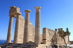 Columns of Doric Temple of Athena Lindia Stock Images