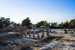 Columns of doric temple in city of Kamiros.Hellenistic houses in ancient city of Kamiros ,island of Rhodes, Greece. Hellenistic houses in ancient city of Kamiros royalty free stock photos
