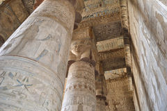 Columns in a egyptian temple. Columns inside the main hall at ancient egyptian temple of dendera Stock Photography