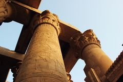 Egyptian columns. Columns of an Egyptian temple at Kom Ombo stock images