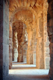 Columns. El Jem is a small town in the east of Tunisia that holds the remains of a UNESCO World Heritage listed Roman amphitheater Stock Photo