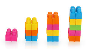 Columns of the elements of the plastic constructor Stock Photography