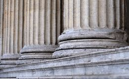 Columns at entrance of neo-classical building. Stairs and bases of neo-classical columns at entrance of Glyptothek in Munich, Bavaria, Germany Royalty Free Stock Photo